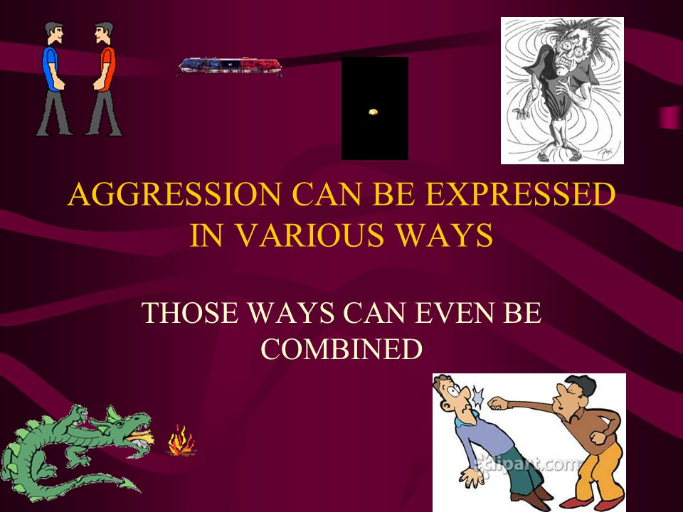 AGGRESSION CAN BE EXPRESSED IN VARIOUS WAYS THOSE WAYS CAN EVEN BE COMBINED