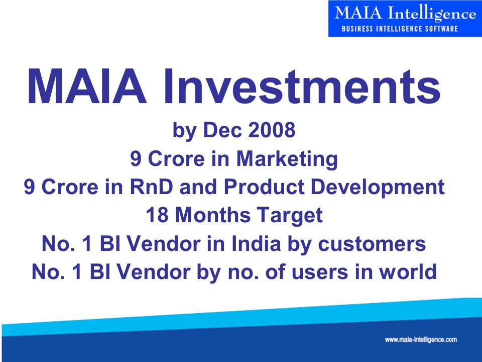 MAIA Investments by Dec 2008 9 Crore in Marketing 9 Crore in RnD and Product Development 18 Months Target No.
