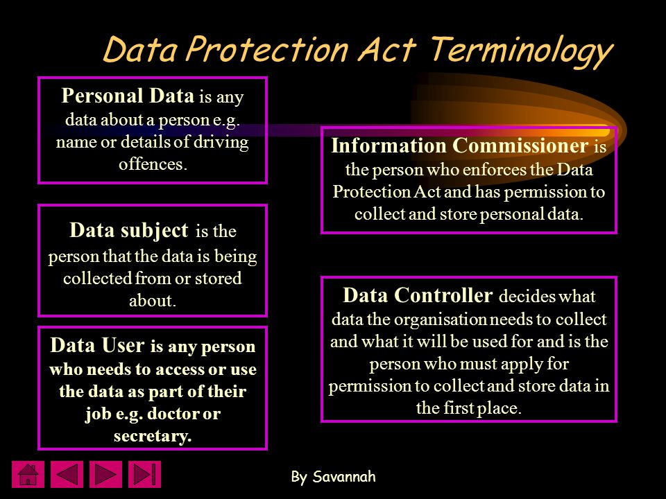 By Savannah Data Protection Act Terminology Information Commissioner is the person who enforces the Data Protection Act and has permission to collect and store personal data.