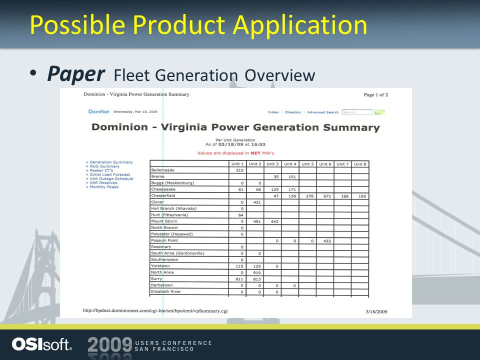 Possible Product Application Paper Fleet Generation Overview