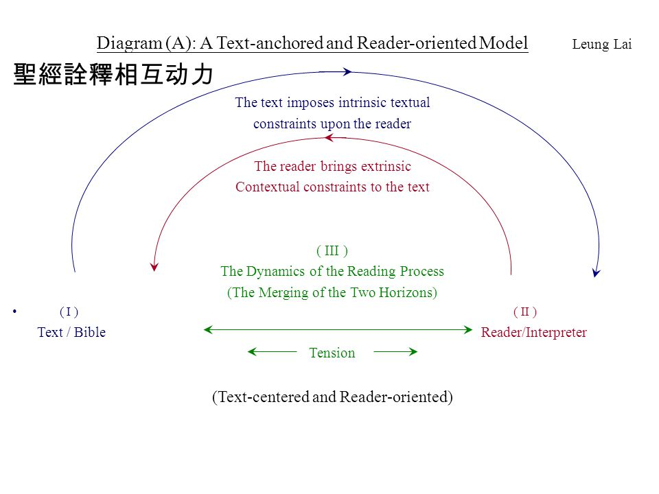 Diagram (A): A Text-anchored and Reader-oriented Model Leung Lai 聖經詮釋相互动力 The text imposes intrinsic textual constraints upon the reader The reader br