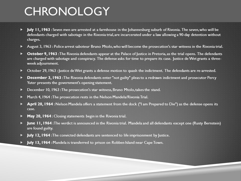 CHRONOLOGY  July 11, 1963 : Seven men are arrested at a farmhouse in the Johannesburg suburb of Rivonia.