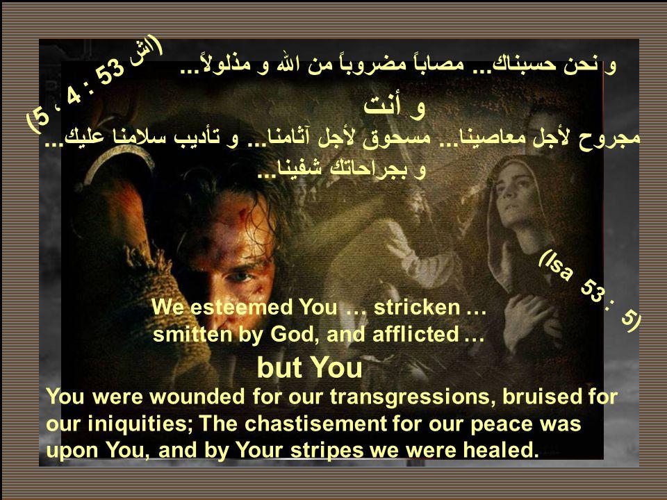 لكنك يا رب صرخت صرختى.... و تحملت كل أوجاعى... But You my Lord have also cried my cry and You have borne all my sufferings … (اش 53 : 4 ، 5) (Isa 53 :