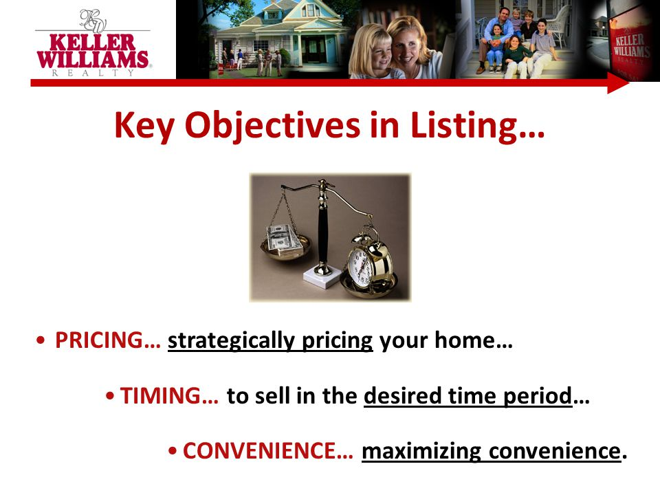 Key Objectives in Listing… PRICING… strategically pricing your home… TIMING… to sell in the desired time period… CONVENIENCE… maximizing convenience.