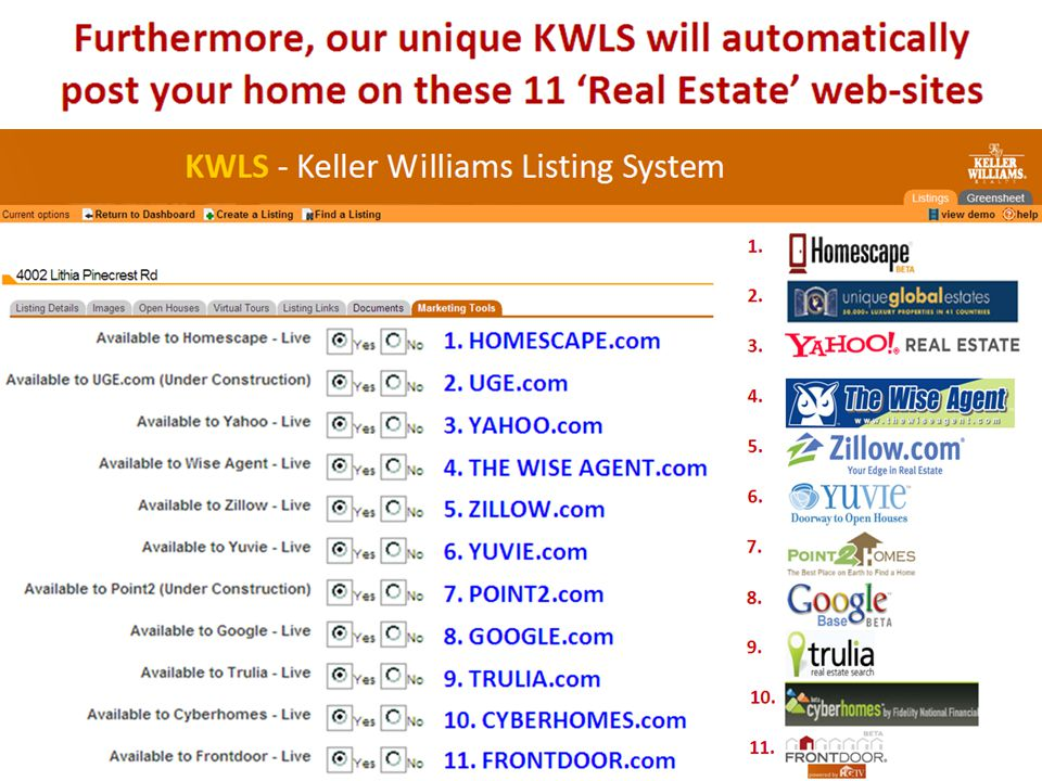 Furthermore, our unique KWLS will automatically post your home on these 11 'Real Estate' web-sites