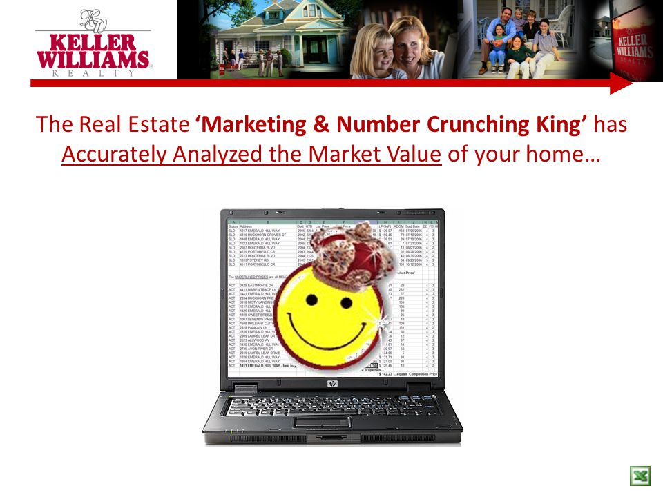 The Real Estate 'Marketing & Number Crunching King' has Accurately Analyzed the Market Value of your home…
