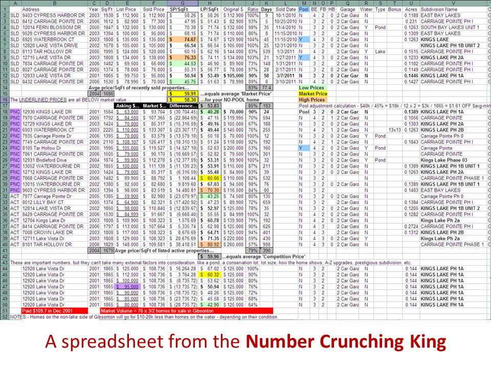 A spreadsheet from the Number Crunching King