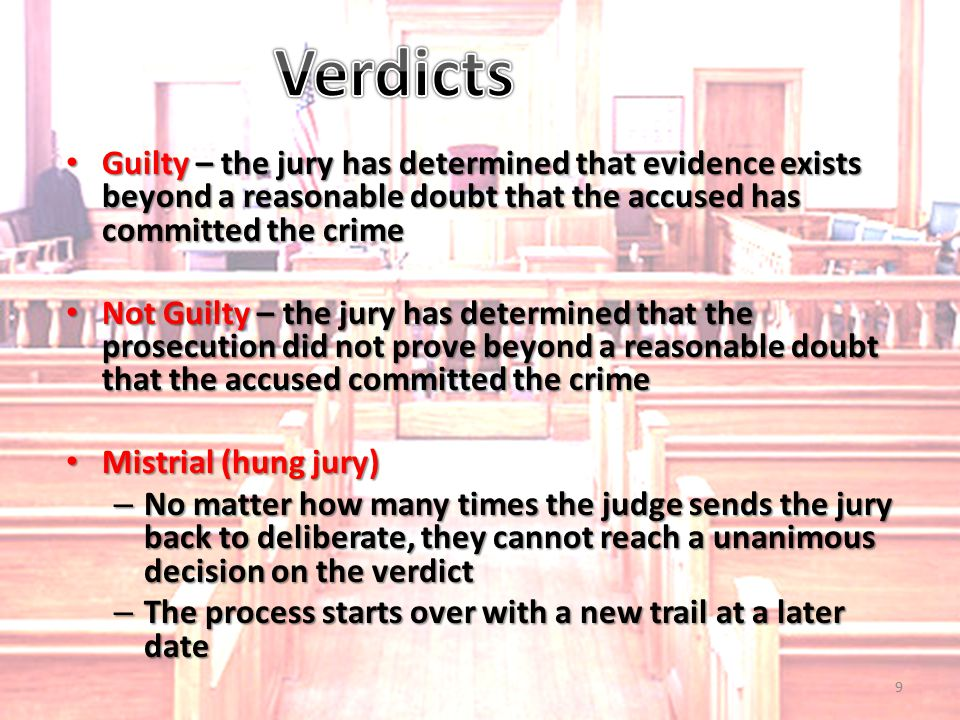 Guilty – the jury has determined that evidence exists beyond a reasonable doubt that the accused has committed the crime Guilty – the jury has determi