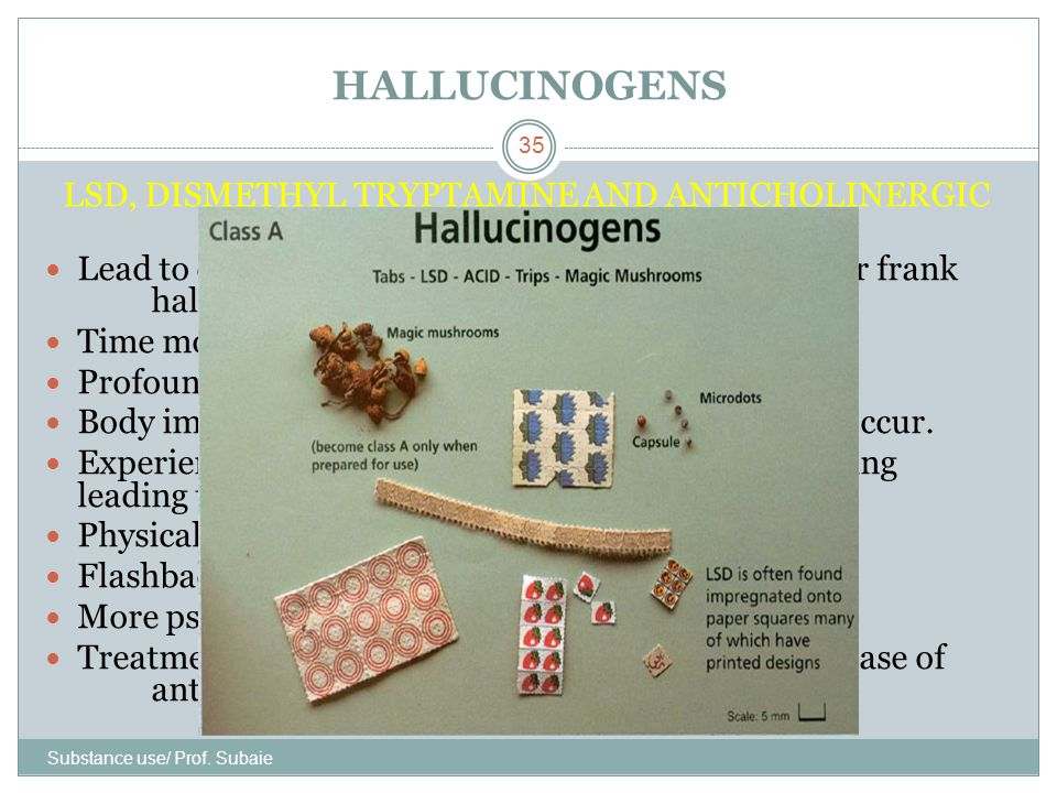 HALLUCINOGENS Substance use/ Prof. Subaie 35 LSD, DISMETHYL TRYPTAMINE AND ANTICHOLINERGIC DRUGS Lead to distortion or intensification of perceptions