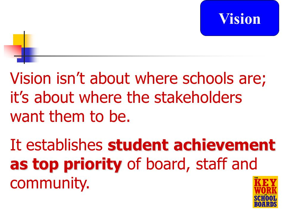 13 Vision isn't about where schools are; it's about where the stakeholders want them to be.
