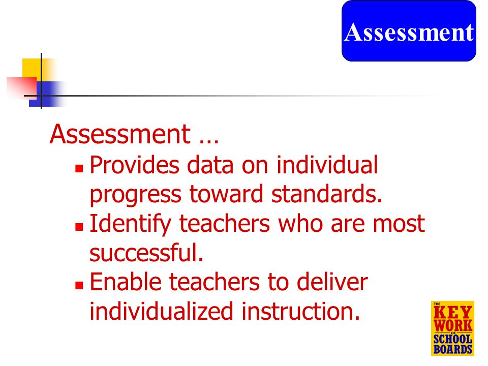 20 Assessment … Provides data on individual progress toward standards.