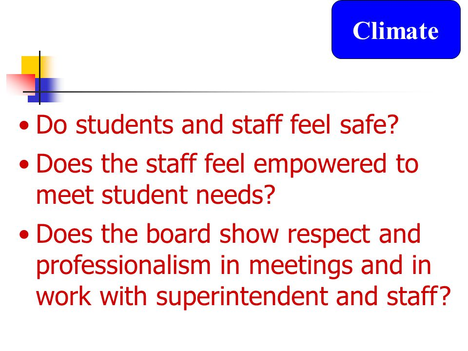 Do students and staff feel safe. Does the staff feel empowered to meet student needs.