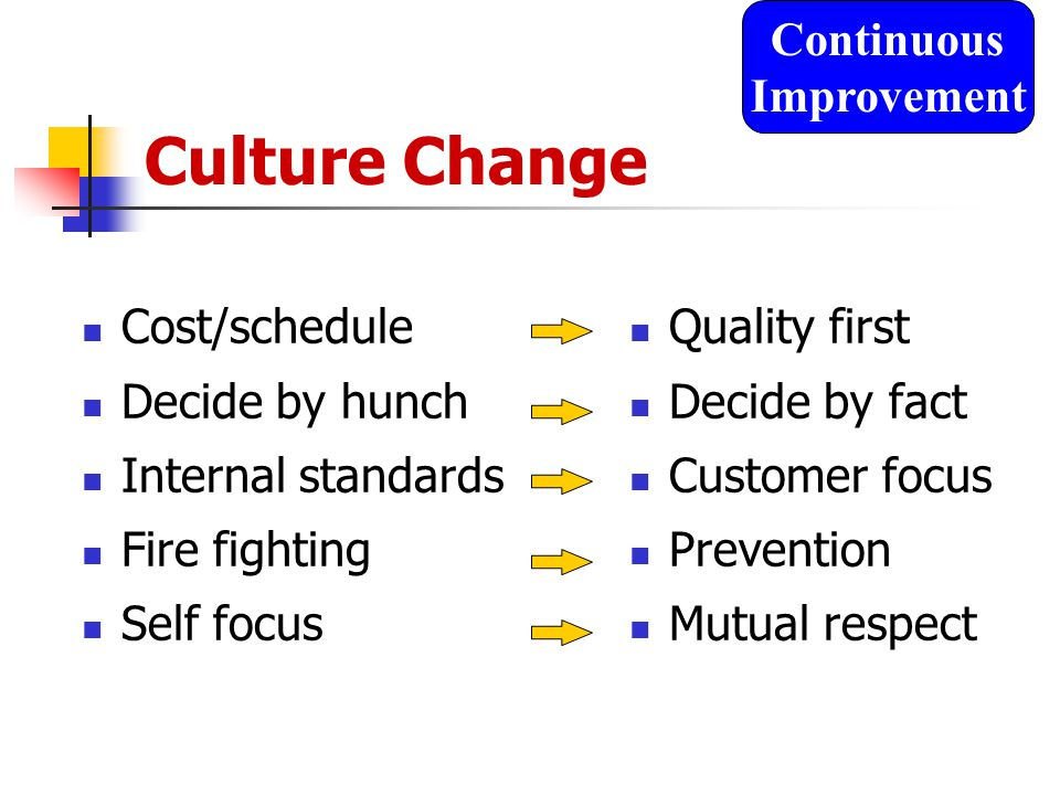 Culture Change Cost/schedule Decide by hunch Internal standards Fire fighting Self focus Quality first Decide by fact Customer focus Prevention Mutual respect Continuous Improvement