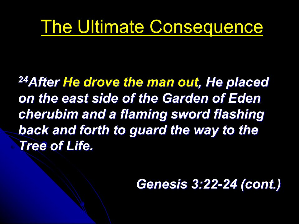 The Ultimate Consequence 24 After He drove the man out, He placed on the east side of the Garden of Eden cherubim and a flaming sword flashing back and forth to guard the way to the Tree of Life.