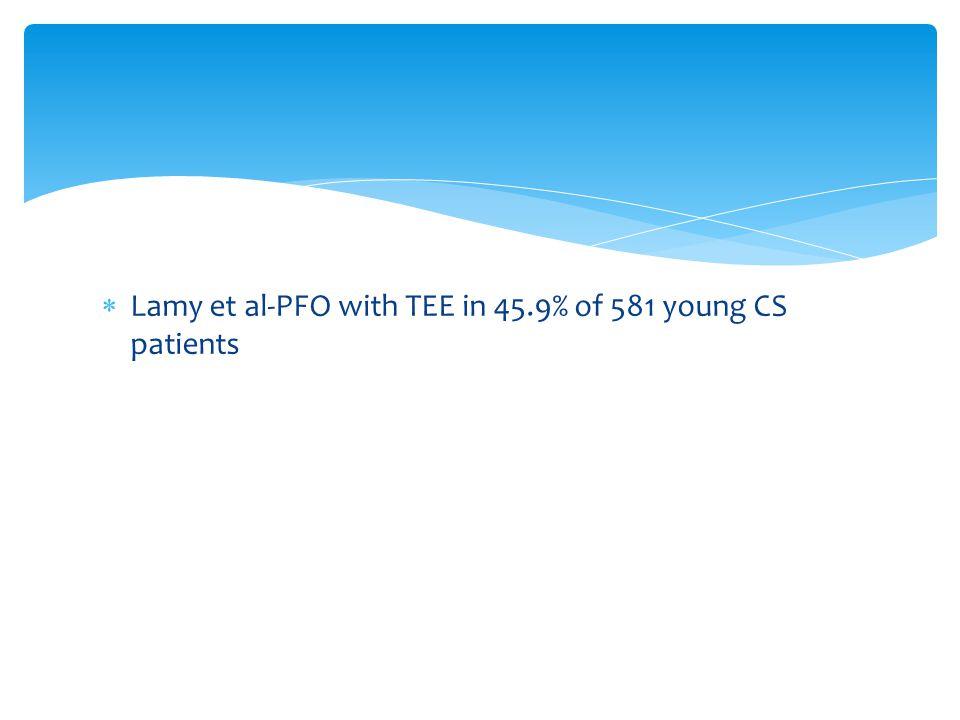  Lamy et al-PFO with TEE in 45.9% of 581 young CS patients