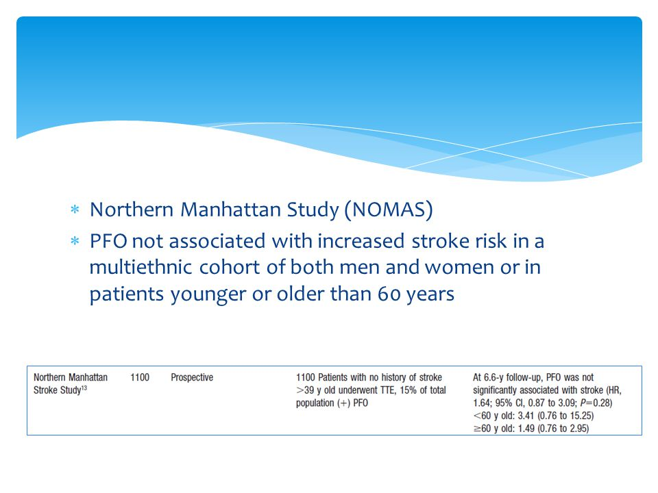  Northern Manhattan Study (NOMAS)  PFO not associated with increased stroke risk in a multiethnic cohort of both men and women or in patients younger or older than 60 years