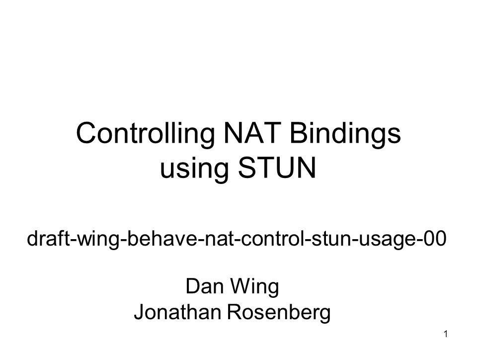 1 Controlling NAT Bindings using STUN draft-wing-behave-nat-control-stun-usage-00 Dan Wing Jonathan Rosenberg