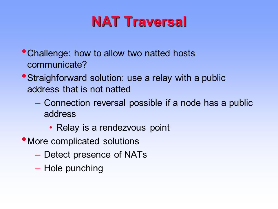NAT Traversal Challenge: how to allow two natted hosts communicate.