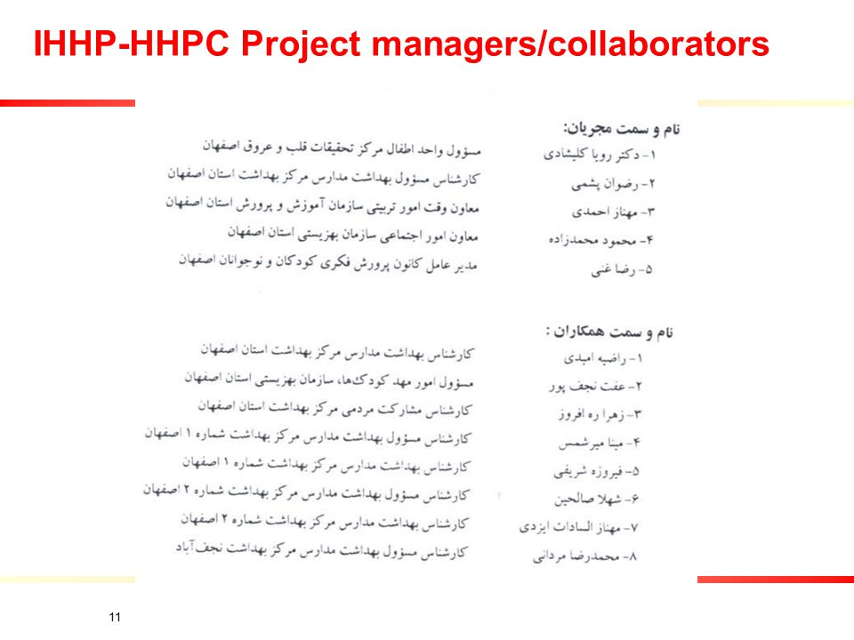 11 IHHP-HHPC Project managers/collaborators