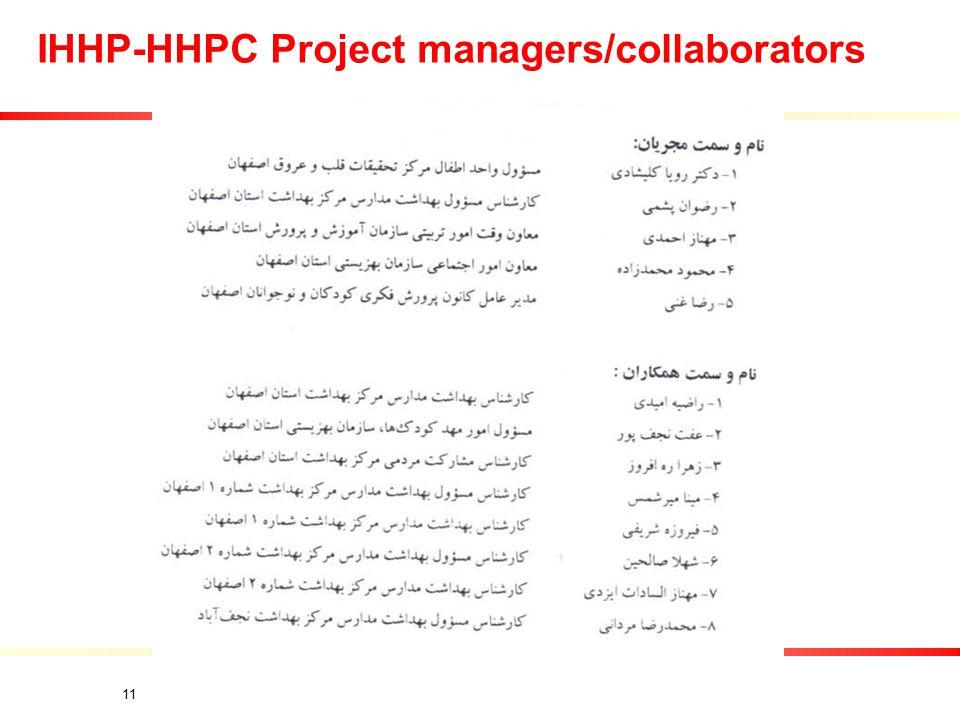 11 IHHP-HHPC Project managers/collaborators