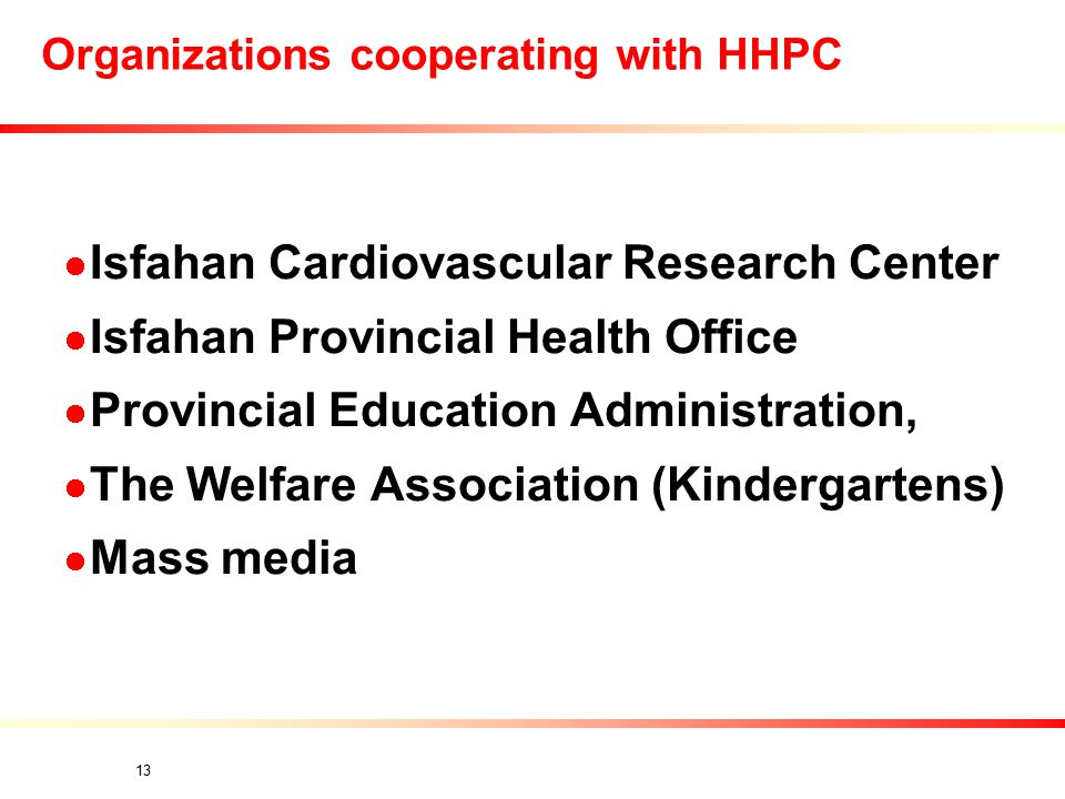 13 Organizations cooperating with HHPC Isfahan Cardiovascular Research Center Isfahan Provincial Health Office Provincial Education Administration, The Welfare Association (Kindergartens) Mass media