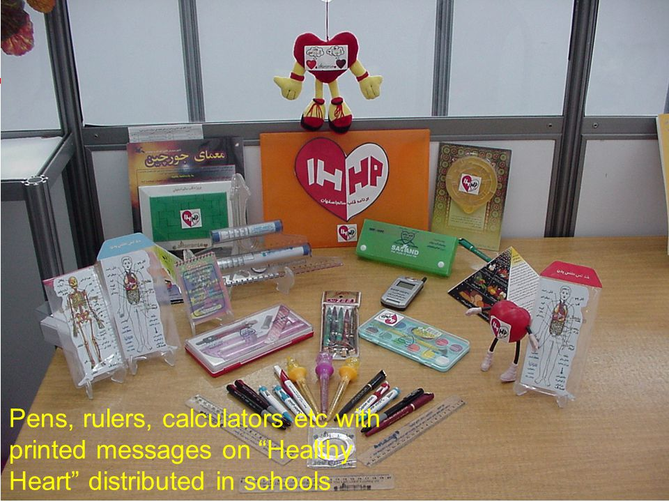 25 Pens, rulers, calculators etc with printed messages on Healthy Heart distributed in schools