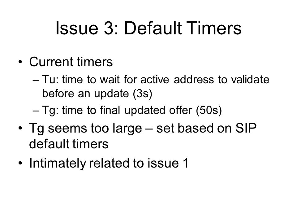 Issue 4: STUN authentication and SIPS Current usage of STUN authentication and sips is vague Doing it is better than not But how likely are the attacks if its not there.