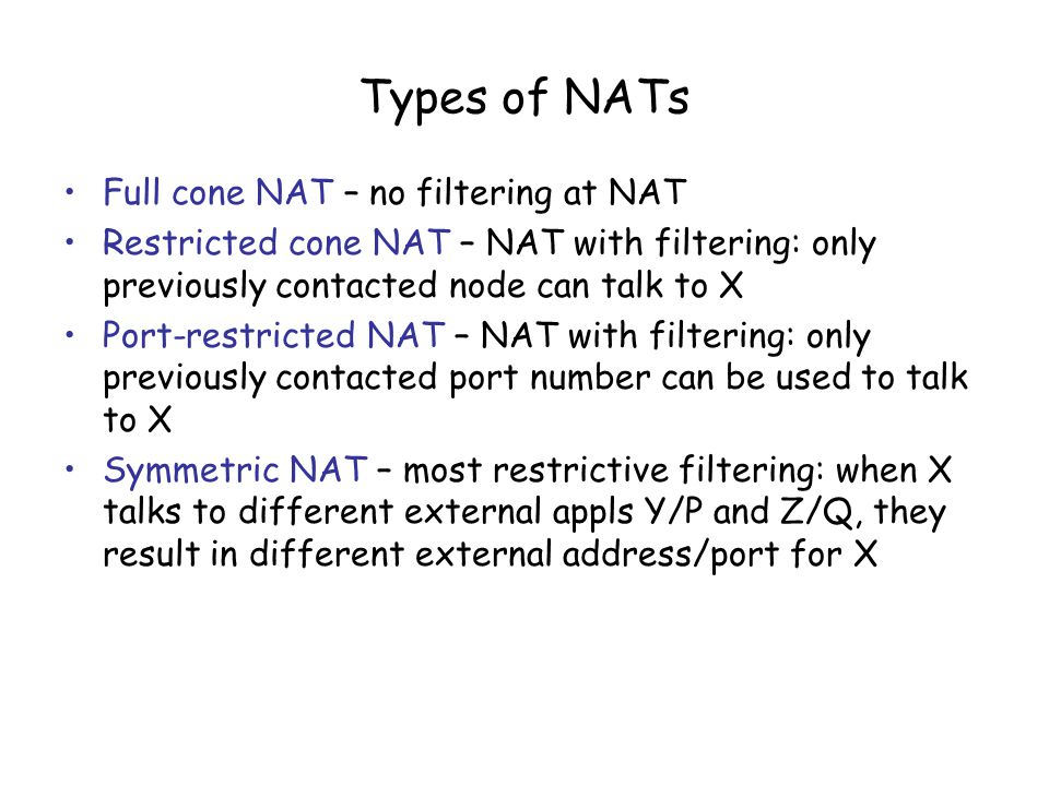 Types of NATs Full cone NAT – no filtering at NAT Restricted cone NAT – NAT with filtering: only previously contacted node can talk to X Port-restricted NAT – NAT with filtering: only previously contacted port number can be used to talk to X Symmetric NAT – most restrictive filtering: when X talks to different external appls Y/P and Z/Q, they result in different external address/port for X