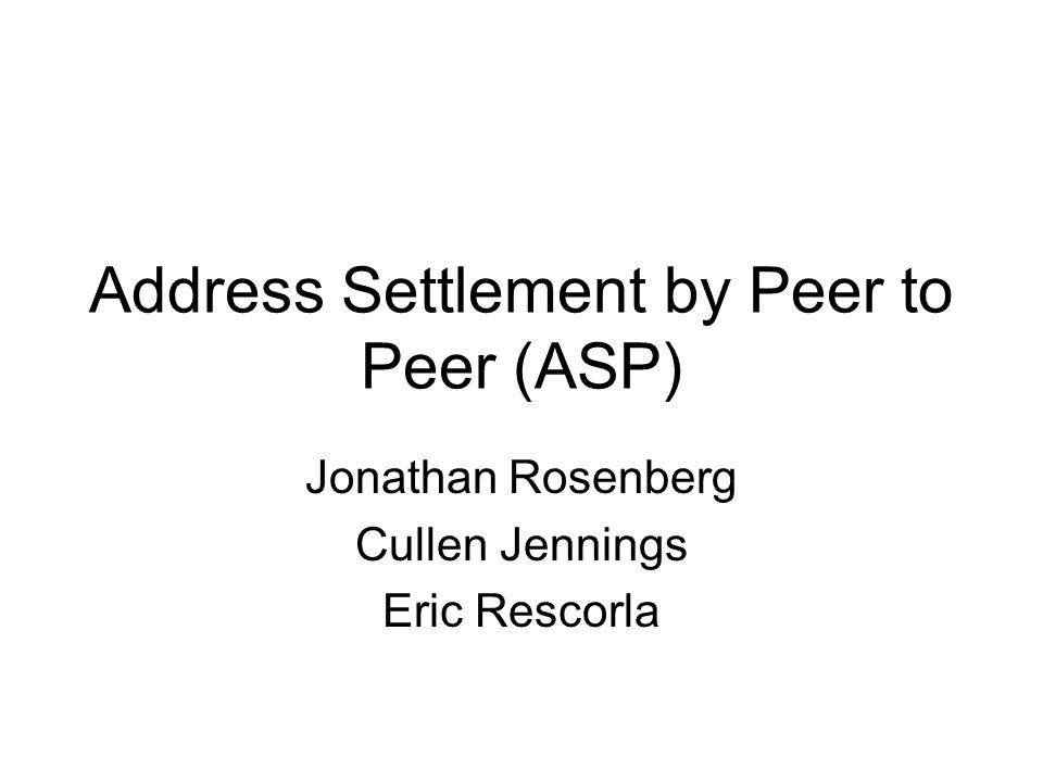 Address Settlement by Peer to Peer (ASP) Jonathan Rosenberg Cullen Jennings Eric Rescorla