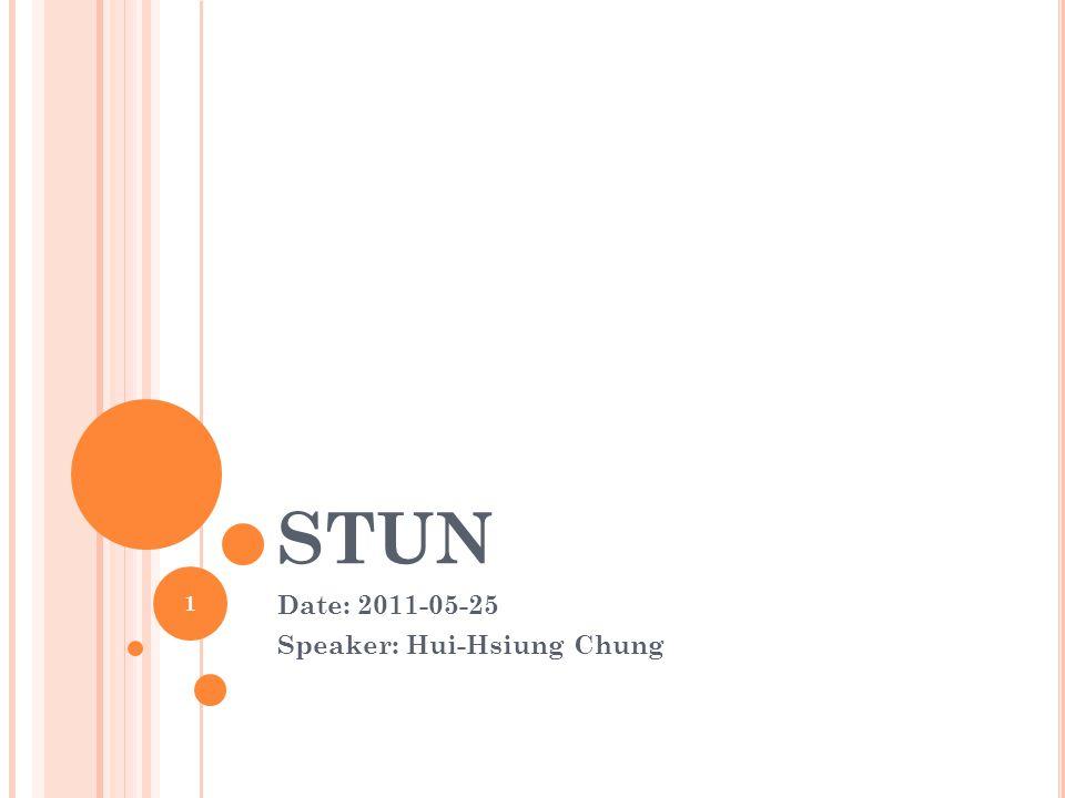 STUN Date: 2011-05-25 Speaker: Hui-Hsiung Chung 1