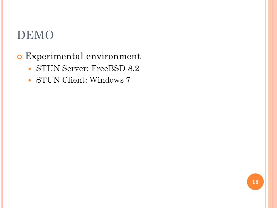 DEMO Experimental environment STUN Server: FreeBSD 8.2 STUN Client: Windows 7 18