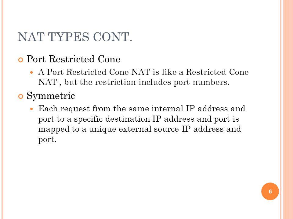 NAT TYPES CONT.