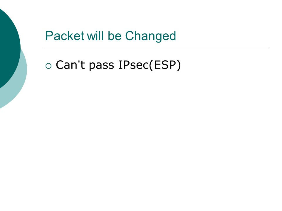 Packet will be Changed  Can ' t pass IPsec(ESP)