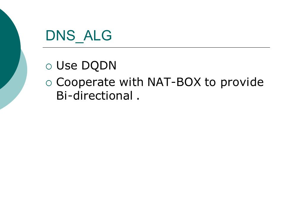 DNS_ALG  Use DQDN  Cooperate with NAT-BOX to provide Bi-directional.