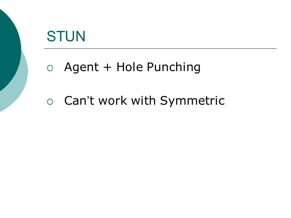STUN  Agent + Hole Punching  Can ' t work with Symmetric