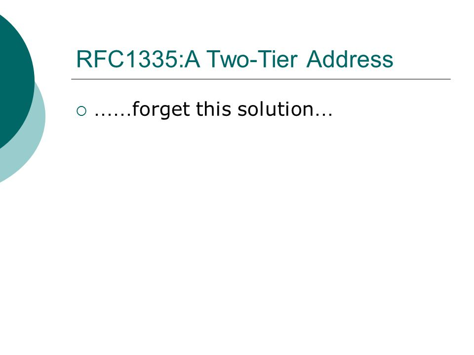 RFC1335:A Two-Tier Address  …… forget this solution …