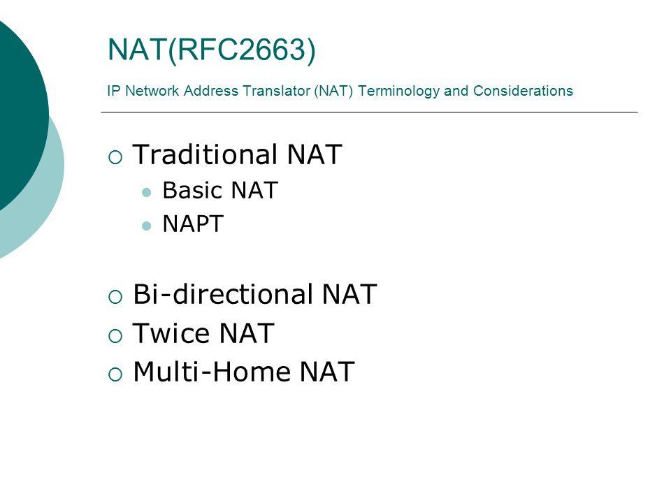 NAT(RFC2663) IP Network Address Translator (NAT) Terminology and Considerations  Traditional NAT Basic NAT NAPT  Bi-directional NAT  Twice NAT  Multi-Home NAT