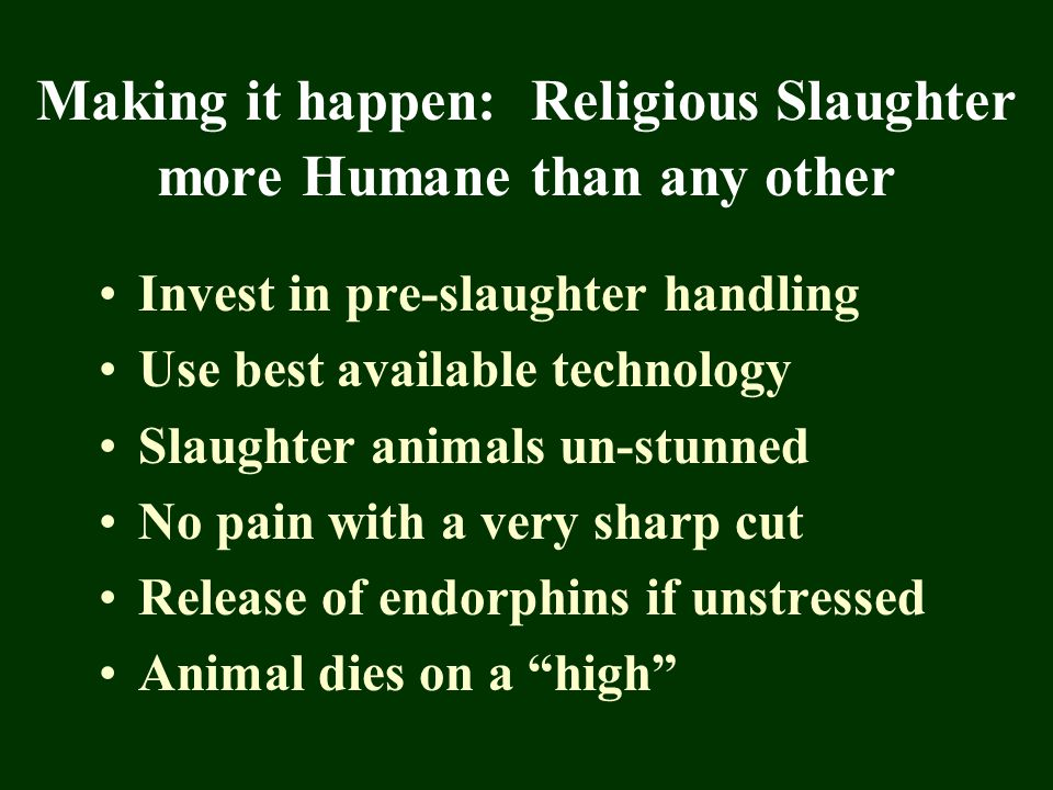 Making it happen: Religious Slaughter more Humane than any other Invest in pre-slaughter handling Use best available technology Slaughter animals un-s