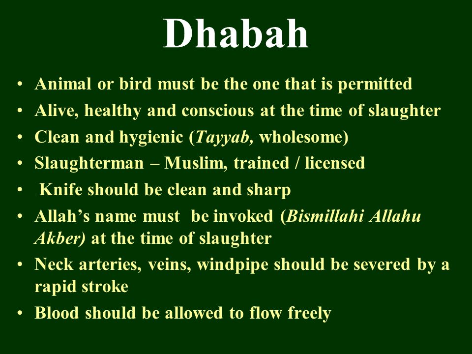 Dhabah Animal or bird must be the one that is permitted Alive, healthy and conscious at the time of slaughter Clean and hygienic (Tayyab, wholesome) S