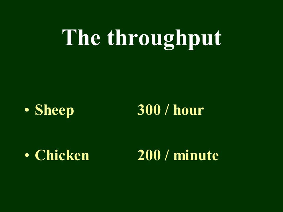 The throughput Sheep300 / hour Chicken200 / minute