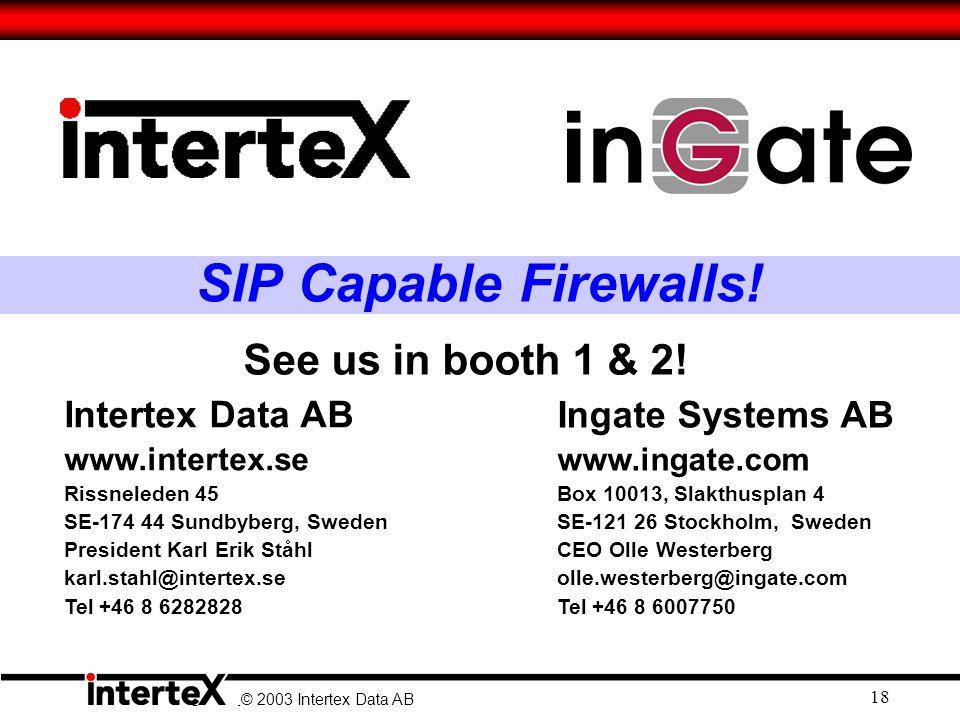 © 2003 Ingate Systems AB © 2003 Intertex Data AB 18 SIP Capable Firewalls.