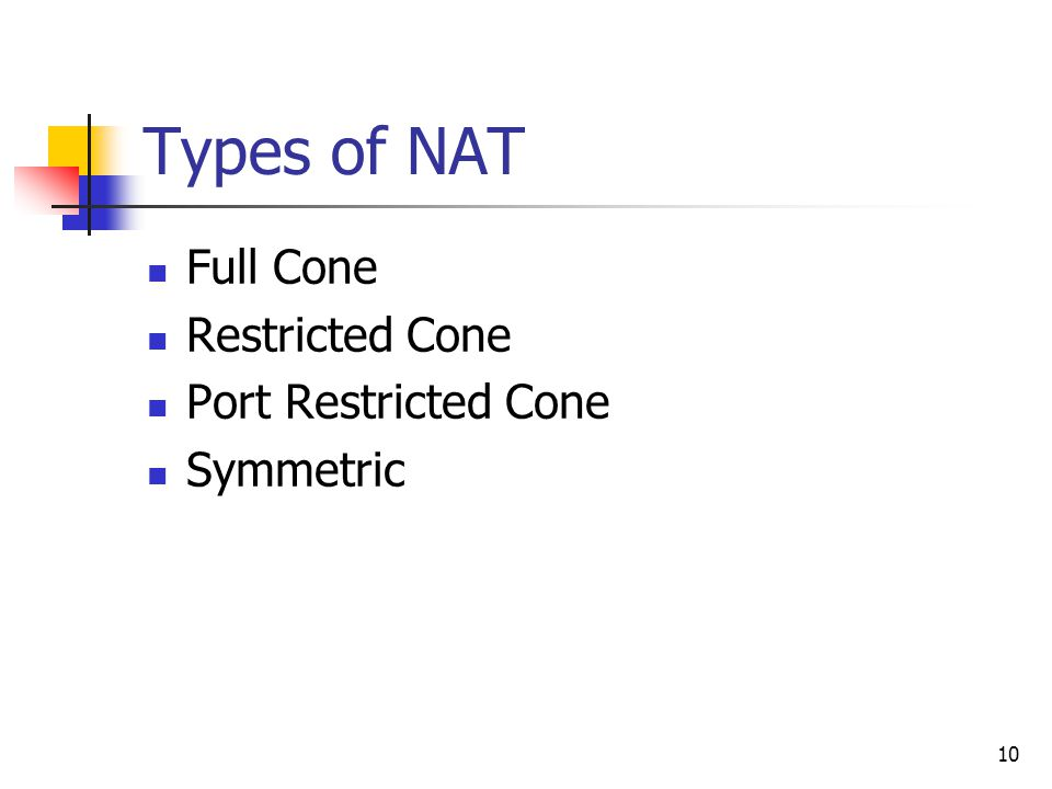 10 Types of NAT Full Cone Restricted Cone Port Restricted Cone Symmetric