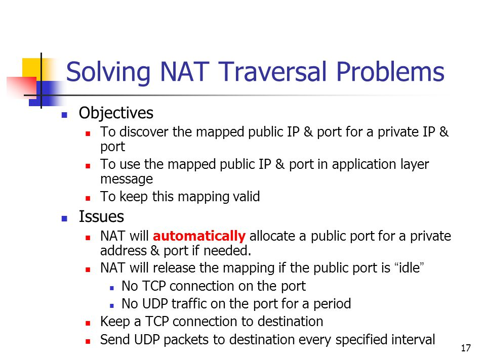 17 Solving NAT Traversal Problems Objectives To discover the mapped public IP & port for a private IP & port To use the mapped public IP & port in app
