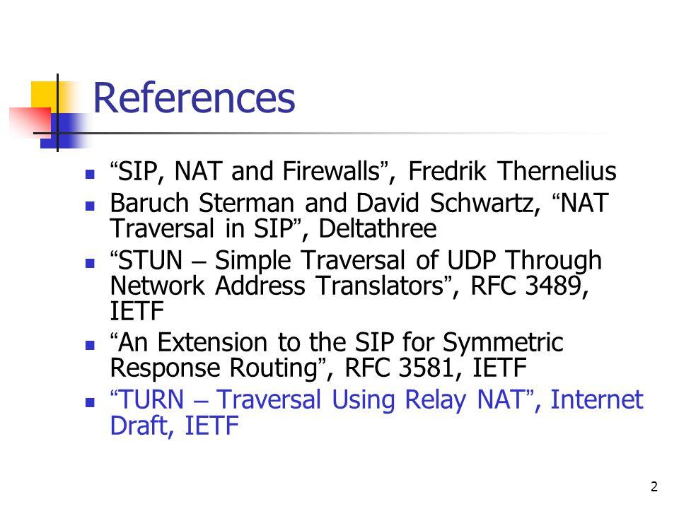 "2 References "" SIP, NAT and Firewalls "", Fredrik Thernelius Baruch Sterman and David Schwartz, "" NAT Traversal in SIP "", Deltathree "" STUN – Simple Tr"