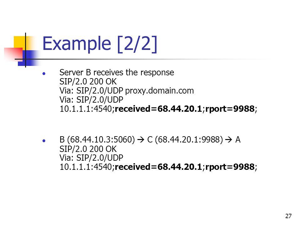 27 Example [2/2] Server B receives the response SIP/2.0 200 OK Via: SIP/2.0/UDP proxy.domain.com Via: SIP/2.0/UDP 10.1.1.1:4540;received=68.44.20.1;rp