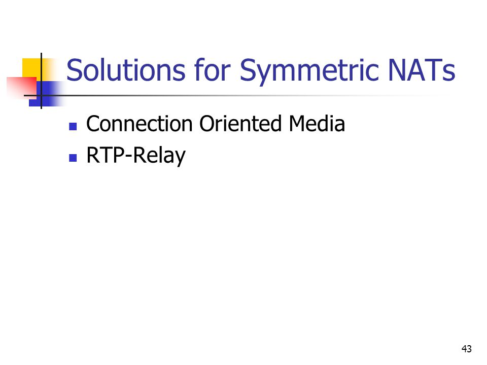 43 Solutions for Symmetric NATs Connection Oriented Media RTP-Relay