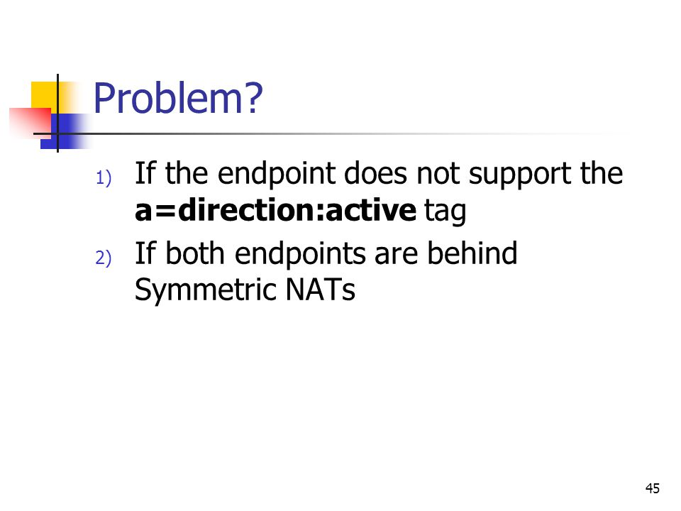 45 Problem? 1) If the endpoint does not support the a=direction:active tag 2) If both endpoints are behind Symmetric NATs