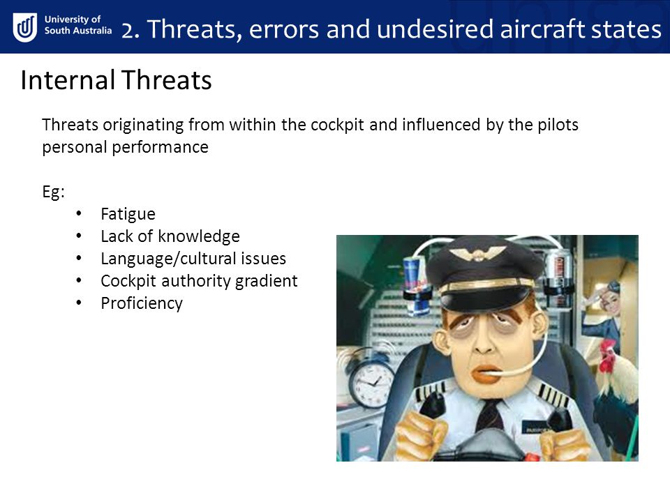 Organisational Threats Threats originating from within organisational infrastructure Eg: Poor SOP's Unsafe attitudes & culture Poor training/checking Incomplete documentation Poor maintenance Poor scheduling 2.