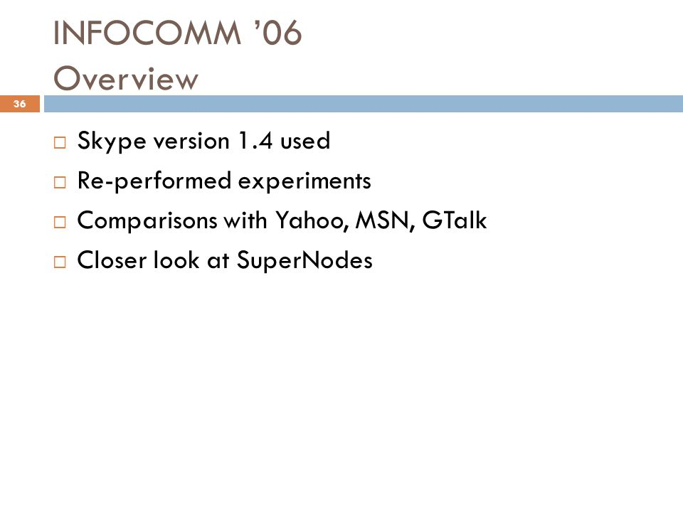 INFOCOMM '06 Overview  Skype version 1.4 used  Re-performed experiments  Comparisons with Yahoo, MSN, GTalk  Closer look at SuperNodes 36