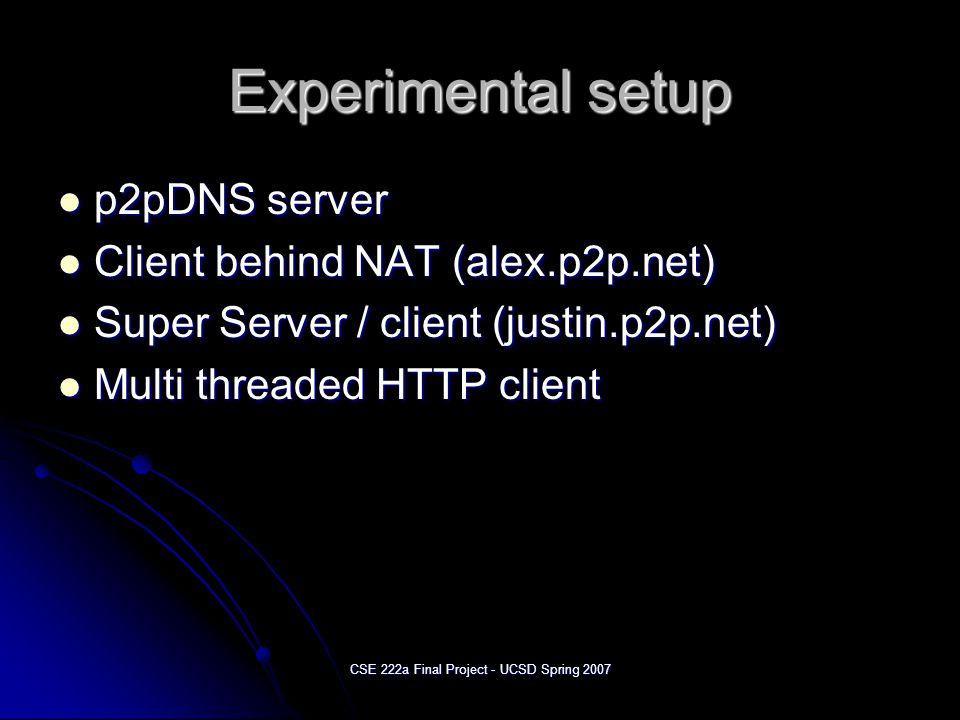 CSE 222a Final Project - UCSD Spring 2007 Experimental setup p2pDNS server p2pDNS server Client behind NAT (alex.p2p.net) Client behind NAT (alex.p2p.net) Super Server / client (justin.p2p.net) Super Server / client (justin.p2p.net) Multi threaded HTTP client Multi threaded HTTP client